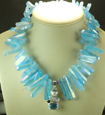 Statement Blue Quartz Necklace with Blue Topaz Pearl Pendant Sterling Silver