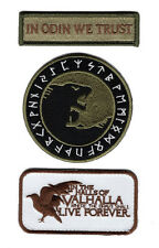 IN ODIN WE TRUST VIKING GOD WOLF IN GOD VIKING RAVEN VALHALLA 3PCS HOOK PATCH