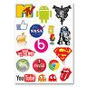A4 Sheet - 18 x Stickers Decals Vinyl Skate Skateboard Kids Logo Gift Fun #6225