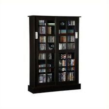Atlantic Inc Windowpane Sliding Glass Door Media Cabinet in Espresso