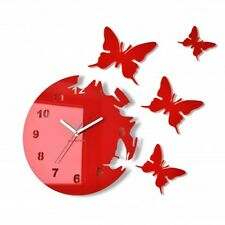 Modern Large Butterflies  Red Wall Clock Home Decor Living Room Bedroom Silent