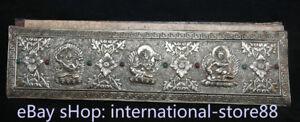 "15.2"" Old Tibetan Silver Gem Buddhism Green Tara Wenshu Buddha Scripture Book"