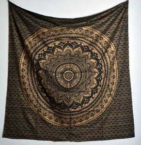 Gold Printed Tapestry Boho Gypsy Twin 84x54 Inche Wall Hanging Home Decor Hippie