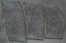 "Wired Ribbon~Sheer~Iridescent Silver Sparkle Snowflake~2.5""~Christmas~ Holiday"