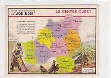 Chromo LION NOIR CARTE GEOGRAPHIQUE LE CENTRE OUEST