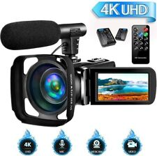 4K Camcorder Video Camera for YouTube, Vlogging Camera with Microphone Ultra HD