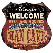 BPMC0197 CHARLIE'S MAN CAVE Rustic Shield Sign Man Cave Decor Funny Gift