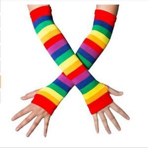 Women's Knee Thigh High Socks& Arm Long Sleeve Warmer Gloves Rainbow Striped