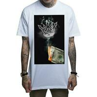 Mafioso Money To Burn White Mens T-Shirt Guns Girls Ammunition Tattoo Clothing