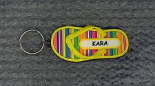 KARA Rubber Flip Flop Name Key Ring Keychain Stocking Stuffer Stripes
