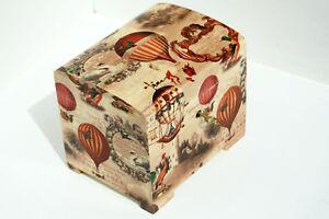 Wood handmade hinged lockable medium trinket chest box decoupage retro balloons