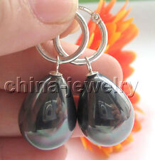 sea shell pearl earring-925 silver E4704-20mm natural bright black color south