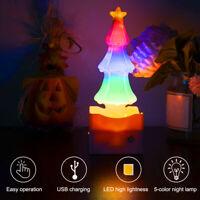 LED Christmas Tree Natural Salt Night Light Lamp Dimmable Air Purifying Lighting