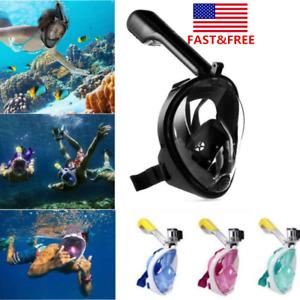 Full Face Swimming Snorkle Mask 180° Diving Scuba Mask For Go Pro Adult Kids