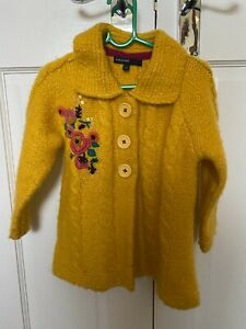M&S Autograph girls yellow chunky knit cardigan age 3-4 years