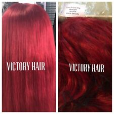 Celebrity Bright Red Straight Swiss Lace Front Wig.  Long. human Hair Blend.