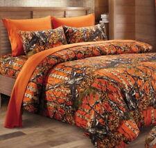 7pc Queen WOODLAND ORANGE CAMO COMFORTER / SHEET SET : BED IN A BAG WOODS HUNT