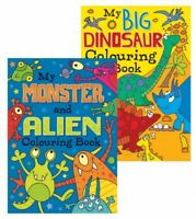 2 x A4 CHILDREN'S Dinosaur Monster Alien WHITE PAGE COLOURING Books Fun 100gsm
