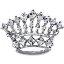 Clear Crystal Princess Queen Crown Tiara Brooch Pin Women Fashion Jewelry  p811