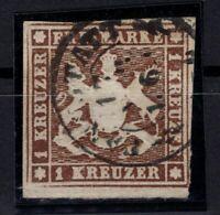 T4300/ GERMANY – WURTEMBERG – MI # 11a USED SIGNED IRTENKAUF BPP – CV 115 $