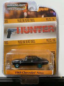 1/64 GREENLIGHT HOLLYWOOD TV SERIES HUNTER 1969 CHEVROLET NOVA BLACK CHASE CAR