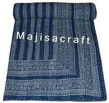 Indian Kantha Quilt Bedspread Reversible Bedding Throw  Handmade Blue Queen Size