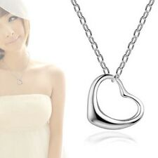 Fashion Women Silver Open Heart Pendant Chain Necklace Sterling Silver Gift MT