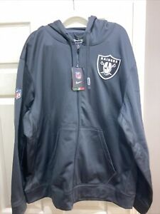 NWT Dark Gray Nike ThermaFit NFL On Field Apparel Raiders Fleece Jacket Size XXL