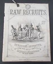 RAW RECRUITS 1862 Civil War Sheet Music, Black Americana Sarony Lithograph Cover