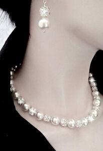 Collana Donna di Perle Swarovski Bianche e Orecchini con Sfere Cristalli Italy