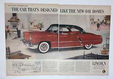 Original Print Ad 1953 LINCOLN 2 Page Showroom Car designed Modern Living