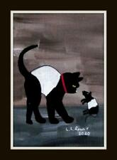 More details for scaredy galloway cat & rat original scottish impressionist oil painting ls rowly