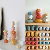 Jengdile Wood Balancing Stones Colorful Stone Educational Toys Decor