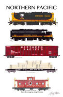"""Northern Pacific Lumber Train 11""""x17"""" Poster by Andy Fletcher signed"""