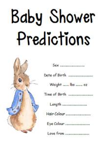 BABY SHOWER GAME BLUE PINK BOY GIRL PREDICTIONS PETER RABBIT UNISEX