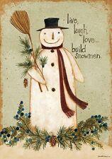 LIVE LAUGH LOVE...BUILD SNOWMEN Primitive WINTER 2 Sided Custom Decor House Flag