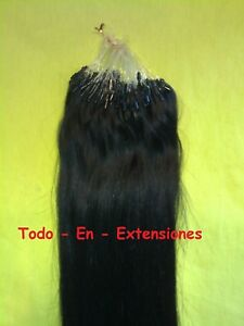 100 Extensiones Micro Ring, PELO NATURAL, Remy , NEGRO Nº 1