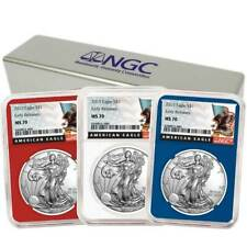 Set NGC PF70UC Black ER Label Red Whi 2019-S Proof $1 American Silver Eagle 3pc