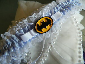 WEDDING GARTER SOMETHING BLUE  - BATMAN GARTER
