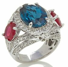 Victoria Wieck SS 11ct London Blue Topaz, Enhanced Ruby and White Topaz Ring