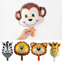 1/6Pcs Large Animal Head Face Foil Balloons Farm Jungle Birthday Party Decor