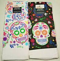 "2 Celebrate Halloween SUGAR SKULL Dish Tea Kitchen Towel Black White 15"" x 25"""