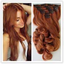 6a remy hair clip in human hair extension copper red wavy