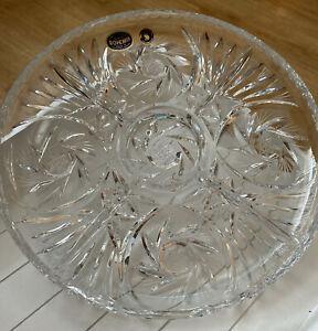 "Vintage Bohemian Czechoslovakia  Crystal 11"" Divided  Plate Hand Cut Made Bnwt"