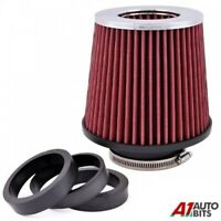 Red Easy Fit Universal Car Sport Cold Air Filter Intake Kit 60 / 65 / 77 mm