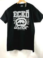 Ecko Unltd Mens L Black Graphic SS T-Shirt Silver Logo Print Tee Size Large