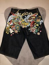 """ED HARDY """"JAPAN"""" Jean Shorts **ONE OF TWO ONLY!!!!** RARE VINTAGE PIECE"""