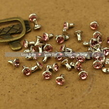 100pcs 6mm Pink Acrylic Rivet Spot Nickel Punk Bag Belt Leathercraft DIY