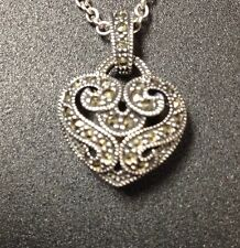Judith Jack Heart Marcasite Sterling Silver Necklace New W Tags Original Bag