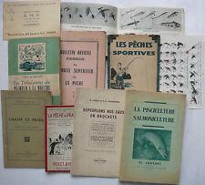 Pêcheur. LOT de 8 livres de Pêches. Brochet, Mouches. 1933.